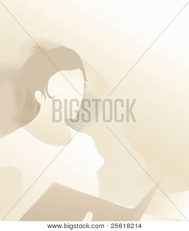 silhouette of woman with book