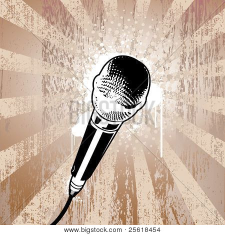 Microphone on grunge background