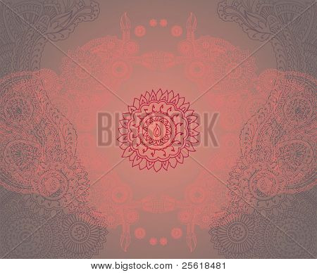 Henna styled symmetrical mandala background