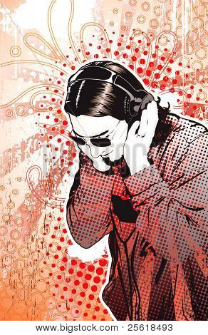 Man listening to headphones on highly detailed background