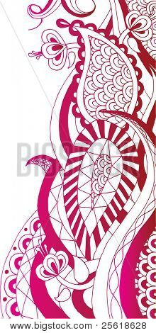 Hand drawn red henna style design