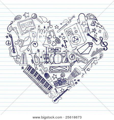 Variedad de garabatos de música dibujado a mano en forma de corazón en papel rayado.