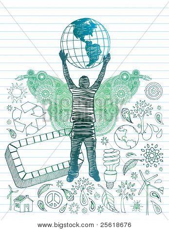 Rabiscos de mão desenhada juventude com globo sobre cabeça e ambiental