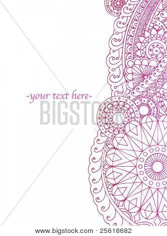 Verticale Henna stijl sieraad klaar voor uw tekst.