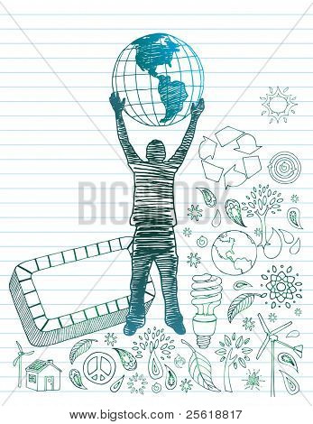 Man with earth surrounded by eco-friendly doodles with room for text.