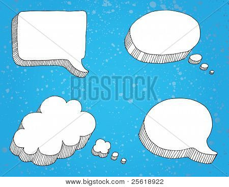 Selection of thought bubbles, separate from background.