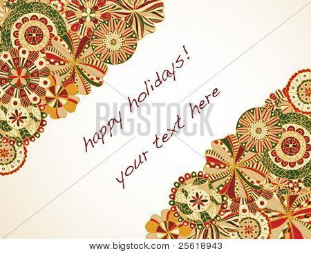 Retro floral in holiday colors frame text area.