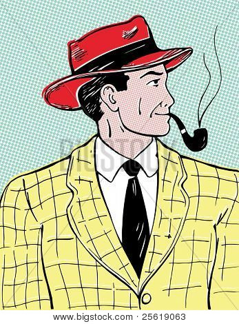 Comic style image of man with pipe.
