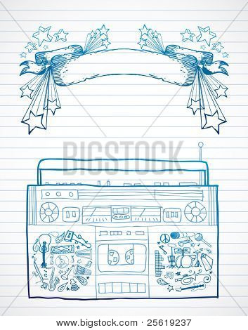 Hand drawn boombox and banner on lined paper.