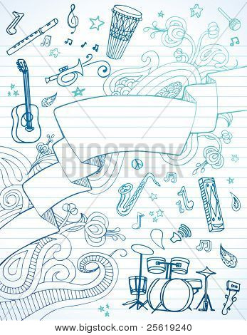 Hand drawn banner and instruments on lined paper.