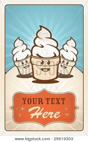 Fun hand drawn ice creams with text area.