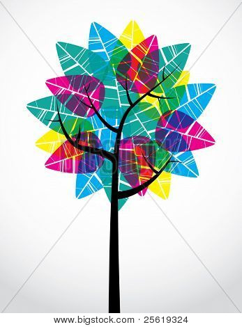 Bright transparent leaves on abstract tree.