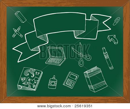 Chalkboard with hand drawn back to school images. Banner for text.