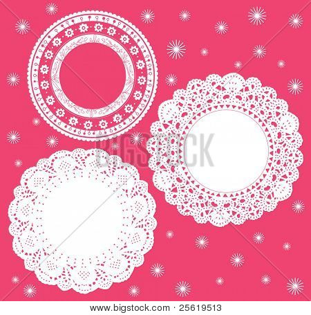 Set for round lace doily. Vector illustration. Background for celebrations, holidays, sewing, arts, crafts, scrapbooks, setting table, cake decorating.