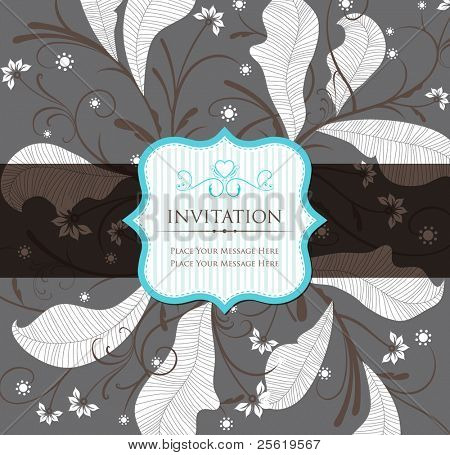 Vintage Floral Invitation with Label. Vector Illustration.