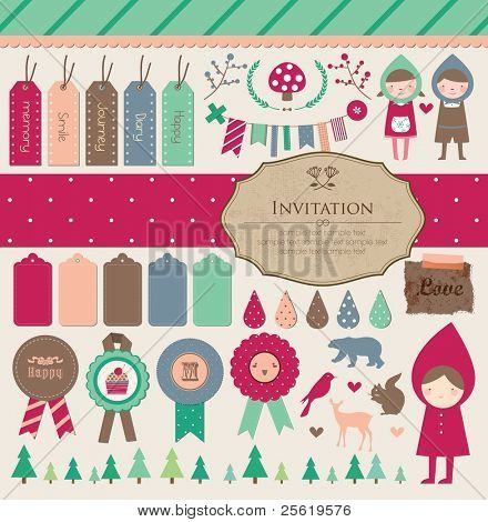 Beautiful Scrapbook Collection for Party, Photo, Fun, Girl Design. Vector Illustration