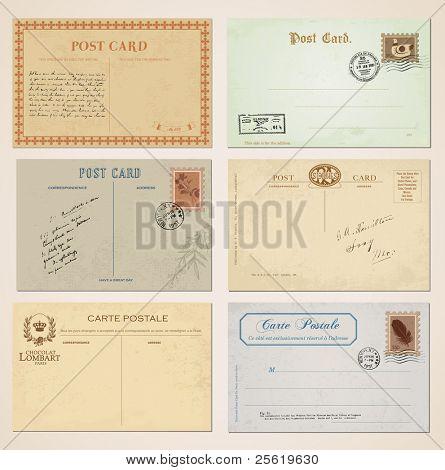 Postcards and stamps in vintage design. Set of 6.