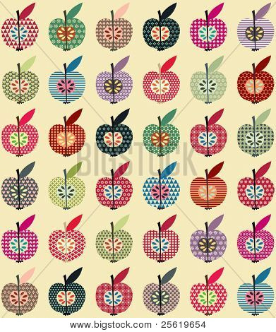 Seamless Cute Apples Wallpaper in Retro Style