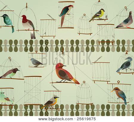 Beautiful Birds in The Cage Concept Design. Retro Style.