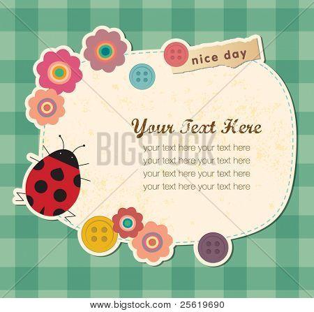 Vintage frame with Ladybird. Greeting Card Design.