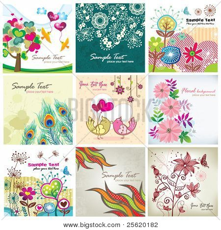 Set of romantic floral & birds background