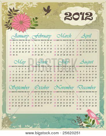 Calendar 2012 in vintage design