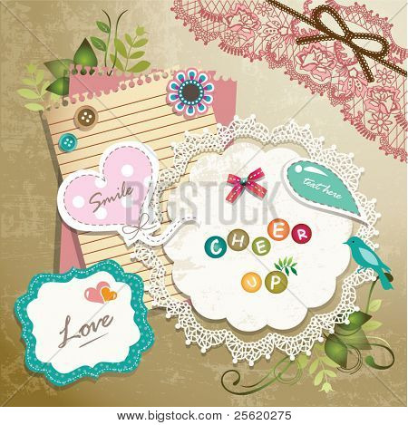 Vintage memo scrapbook elements 01