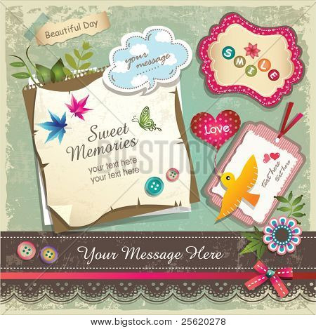 Vintage memo scrapbook elements 02