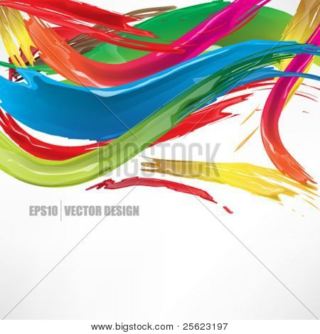 eps10 Vektor realistische multicolor gebürstet Tinte abstract design