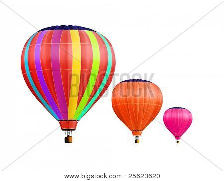 soar hot air balloons on white background with path