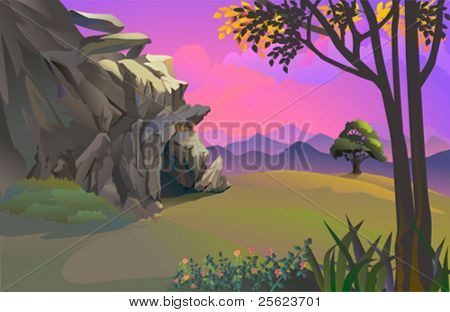 Caveman's rocky cave and beautiful hillside landscape