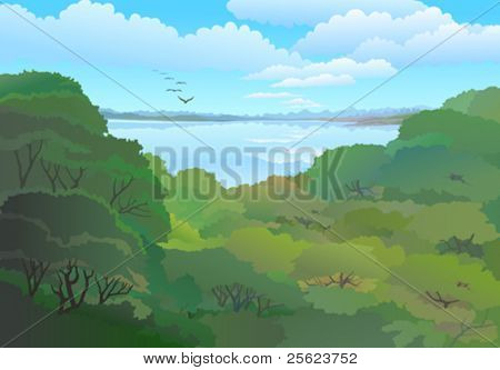 PANORAMIC VIEW OF TROPICAL FOREST AND VAST BLUE SKY