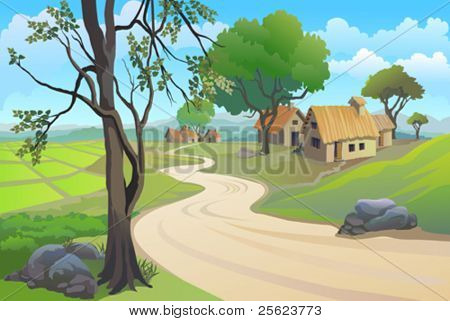 GREEN PADDY FIELDS , PATHWAY  AND  VILLAGE HOUSES