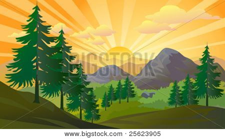 Sunrise in distant mountains