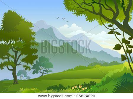 Hermoso Panorama de colinas de Himalaya