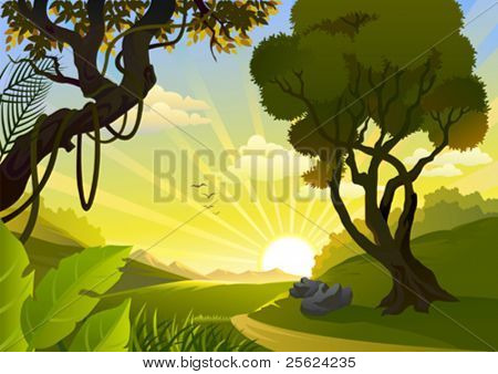 Sunrise In Tropical Countryside