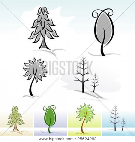 Abstract  Realistic Tree Icons and Symbols