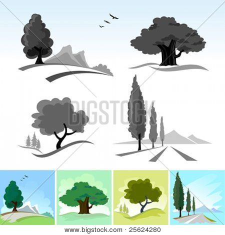 Realistic Tree Icons and Symbols