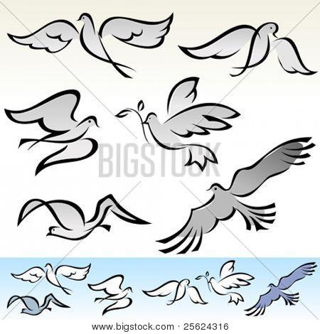 AMAZING  FLYING BIRDS  VECTOR  SET