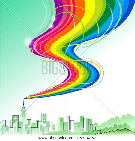 City Scape - Abstract Rainbow Pencil Series