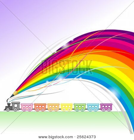 Toy Train - Abstract Rainbow Pencil Series
