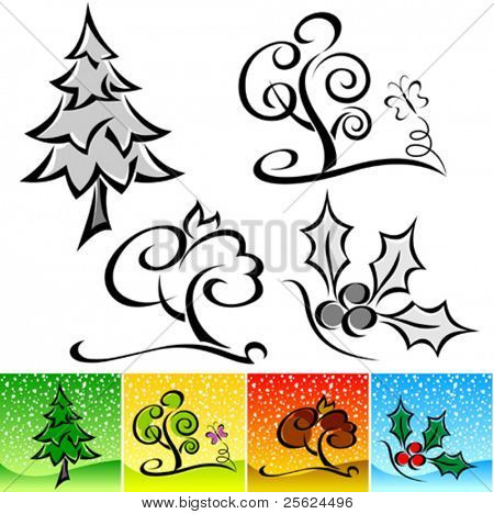 ABSTRACT CALLIGRAPHIC WINTER TREE ICON SET