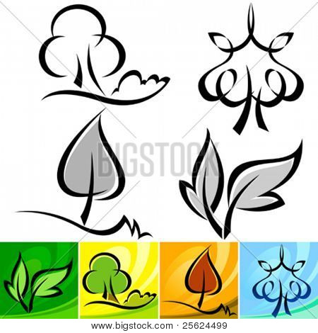 FOUR SEASON CALLIGRAPHIC TREE ICON SET