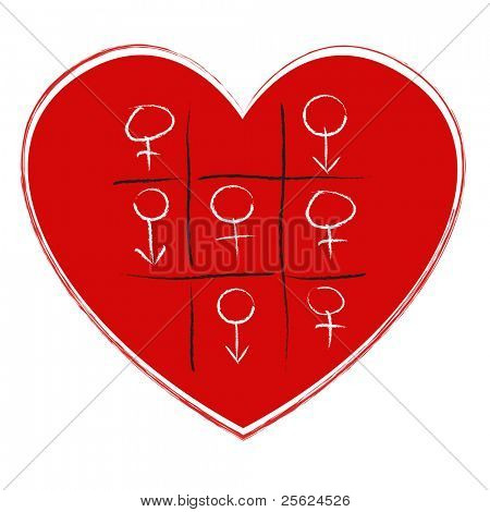 illustration of tic tac toe game with sex symbol on heart