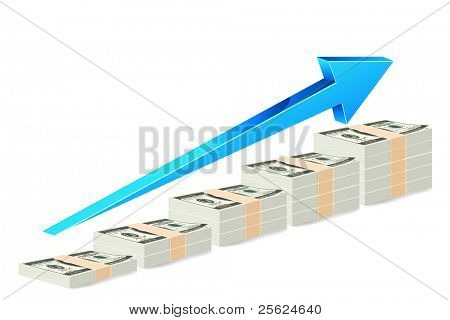 illustration of dollar note bar graph with arrow on white background