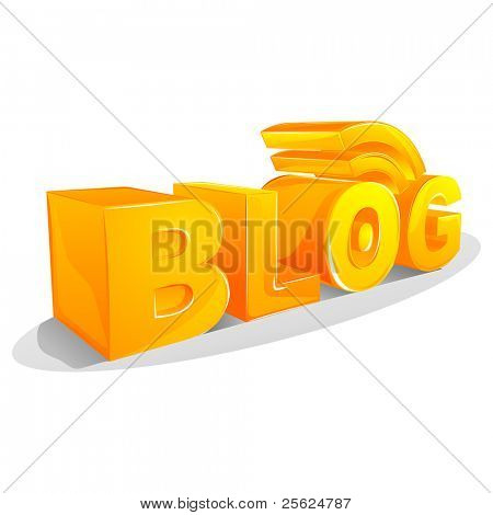 illustration of rss blog on isolated white background