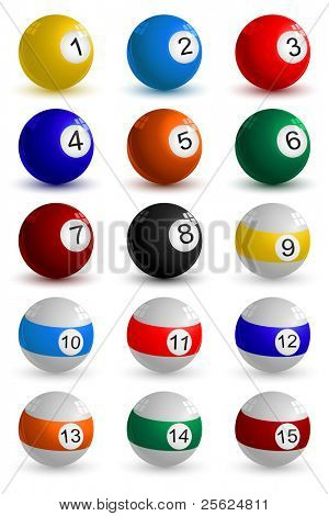 illustration of set on snooker ball on white background