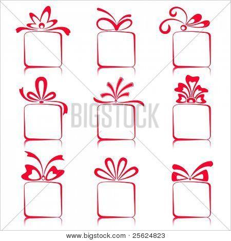 illustration of set of gift boxes on isolated white background