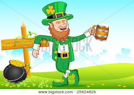 illustration of Leprechaun with beer mug wishing saint patrick's day