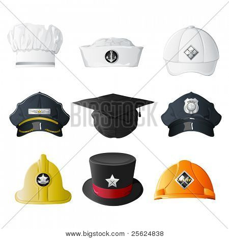 illustration of set of hat from different professions on isolated background